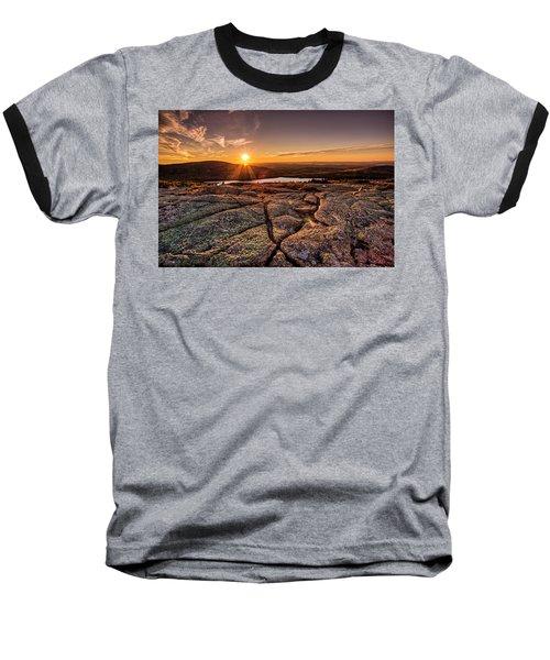 Sunset On Cadillac Mountain Baseball T-Shirt