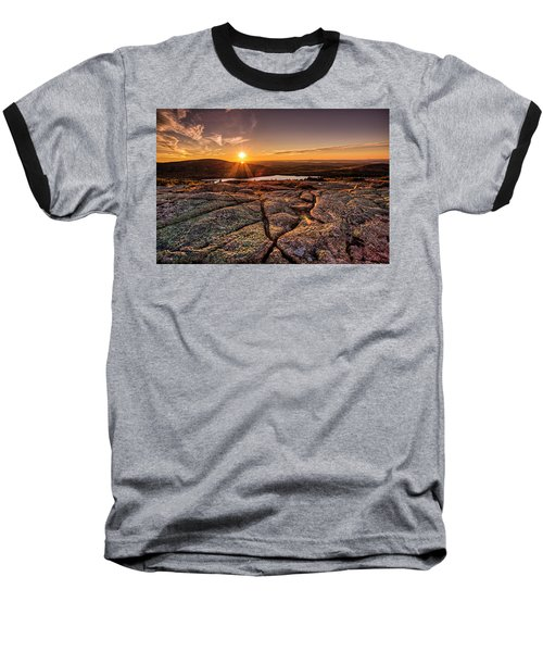 Sunset On Cadillac Mountain Baseball T-Shirt