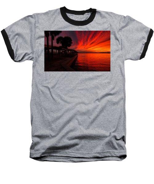 Sunset On Fire Baseball T-Shirt