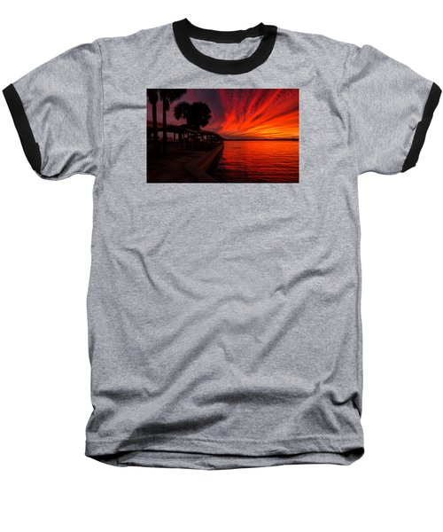 Sunset On Fire Baseball T-Shirt