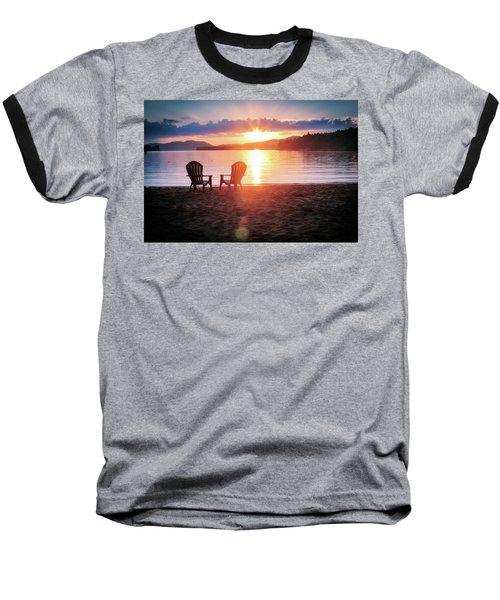 Sunset On Fourth Lake Baseball T-Shirt