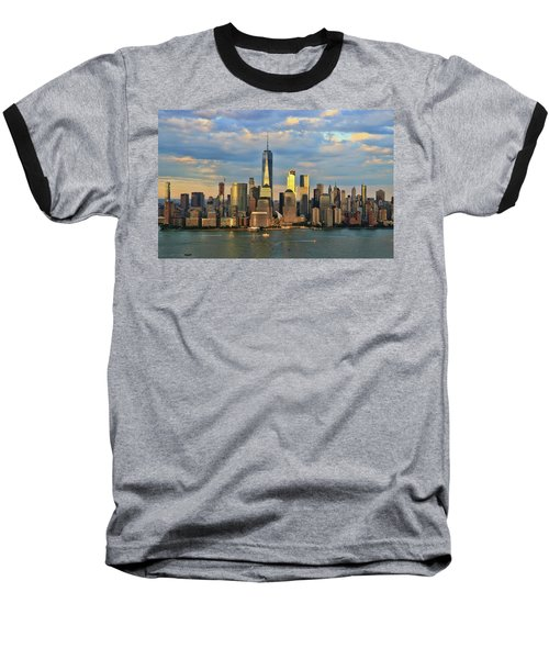 Sunset On Lower Manhattan Baseball T-Shirt