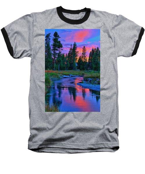 Sunset On Lucky Dog Creek Baseball T-Shirt by Greg Norrell