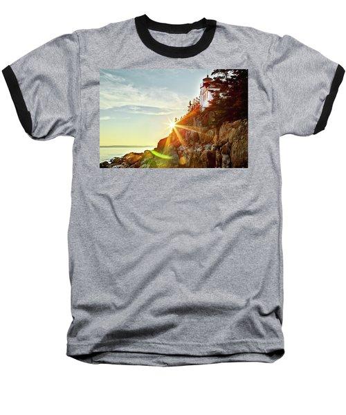 Ocean Sunset On Maine's Bass Harbor Lighthouse Baseball T-Shirt