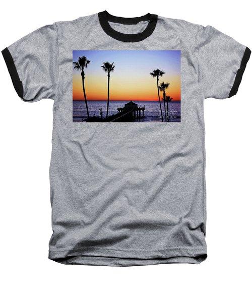 Sunset On Manhattan Beach Pier Baseball T-Shirt