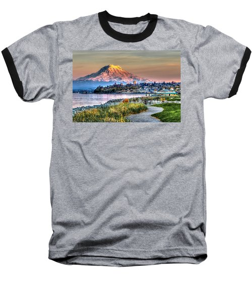 Sunset On Mt Rainier And Point Ruston Baseball T-Shirt by Rob Green