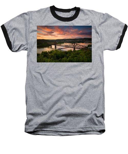 Sunset On Ohio River  Baseball T-Shirt