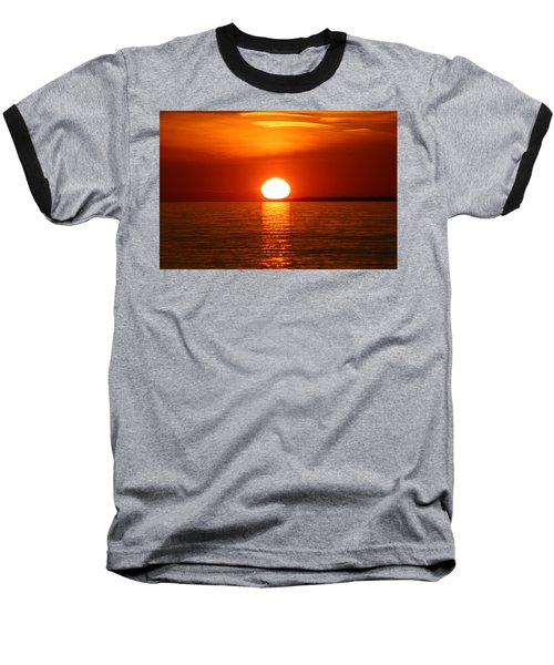 Baseball T-Shirt featuring the photograph Sunset On Superior by Paula Brown