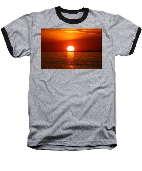 Sunset On Superior Baseball T-Shirt by Paula Brown