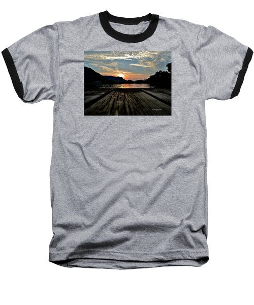Sunset On The Dock Baseball T-Shirt