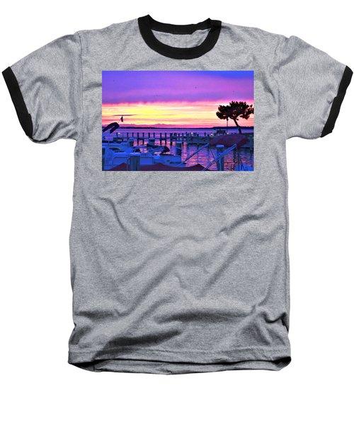 Sunset On The Docks Baseball T-Shirt