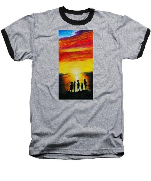 Sunset On The Great Salt Lake Baseball T-Shirt by Sherril Porter
