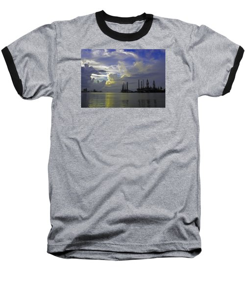 Sunset On The Harbor Baseball T-Shirt