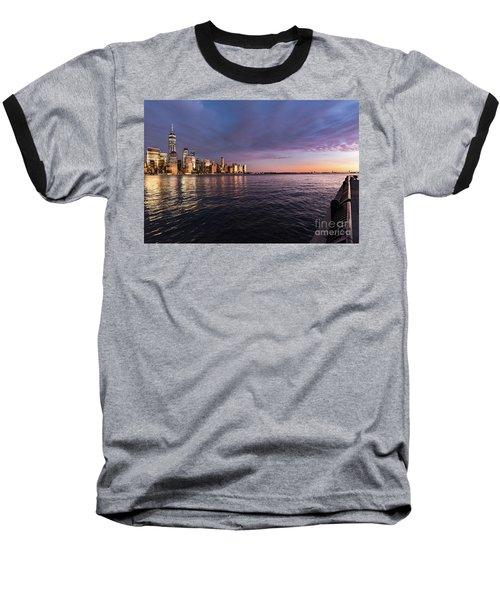 Sunset On The Hudson River Baseball T-Shirt