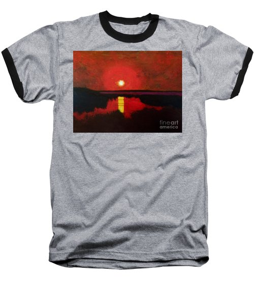 Baseball T-Shirt featuring the painting Sunset On The Lake by Donald J Ryker III