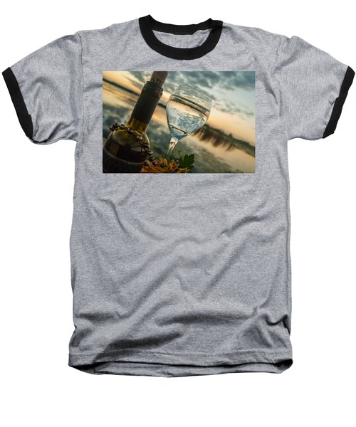 Sunset On The Lake Baseball T-Shirt by Pamela Williams