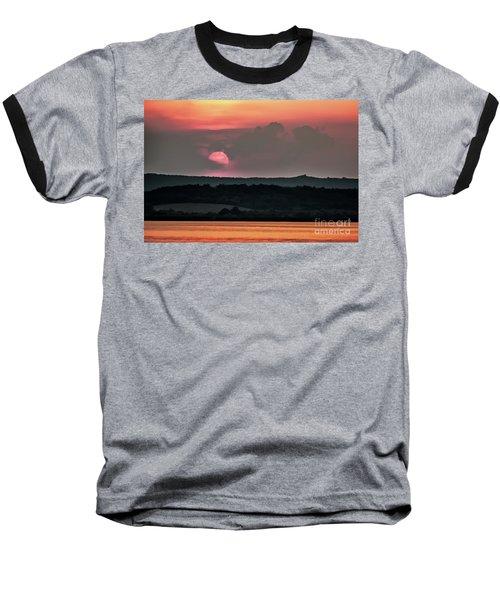 Sunset On The Lake Velence Paint Baseball T-Shirt