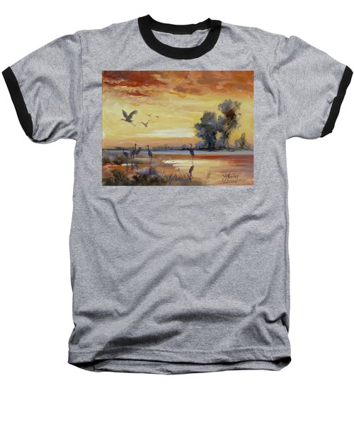 Sunset On The Marshes With Cranes Baseball T-Shirt
