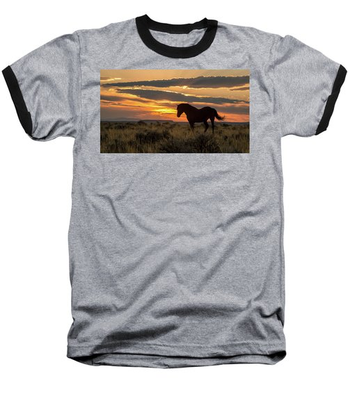 Sunset On The Mustang Baseball T-Shirt by Jack Bell