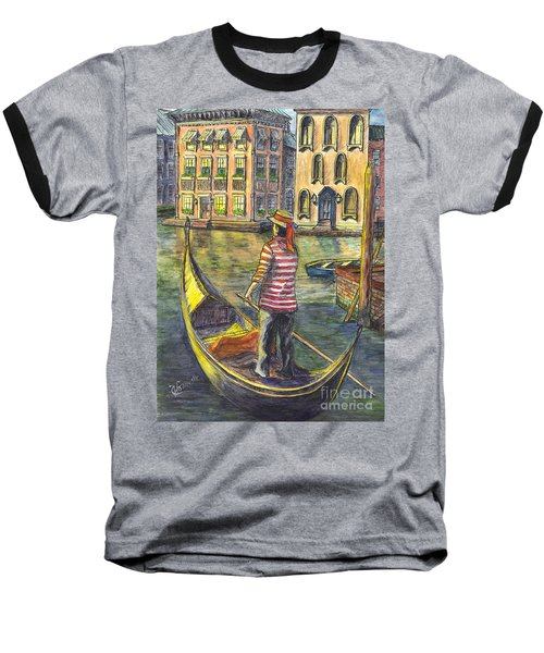 Baseball T-Shirt featuring the painting Sunset On Venice - The Gondolier by Carol Wisniewski