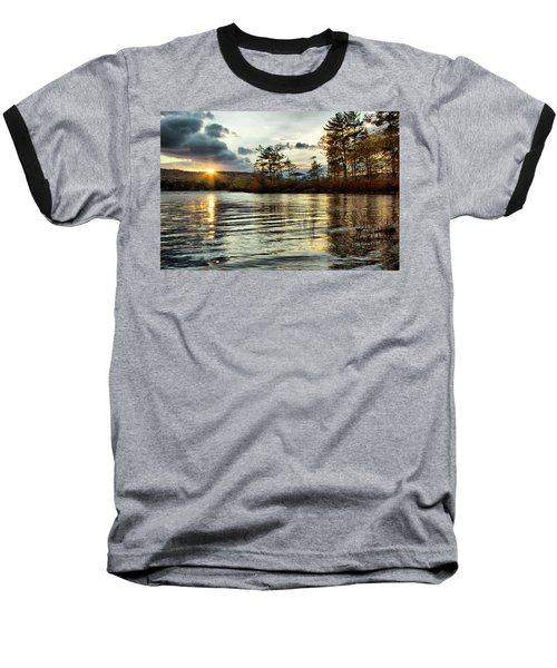 Sunset On Webster Lake  Baseball T-Shirt