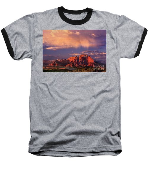 Sunset On West Temple Zion National Park Baseball T-Shirt by Dave Welling