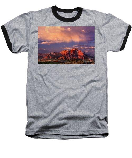 Sunset On West Temple Zion National Park Baseball T-Shirt