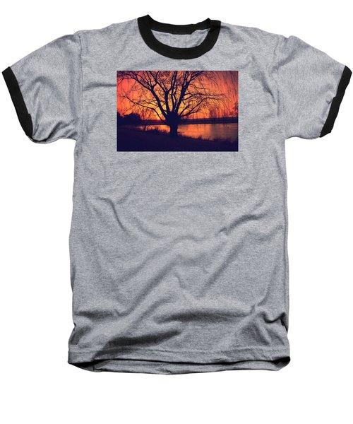 Sunset On Willow Pond Baseball T-Shirt