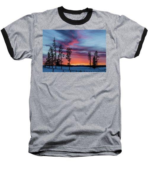 Sunset Over A Farmers Field, Cowboy Trail, Alberta, Canada Baseball T-Shirt
