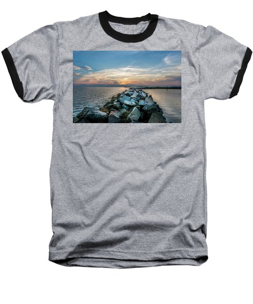Sunset Over A Rock Jetty On The Chesapeake Bay Baseball T-Shirt