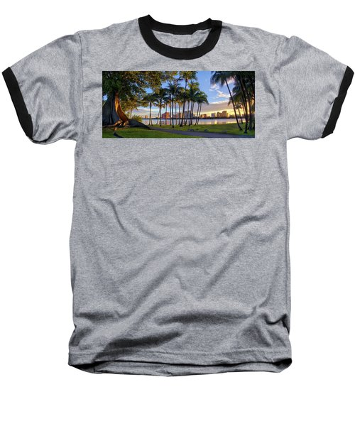 Sunset Over Downtown West Palm Beach From Palm Beach Island Baseball T-Shirt by Justin Kelefas