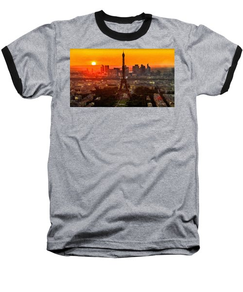 Sunset Over Eiffel Tower Baseball T-Shirt