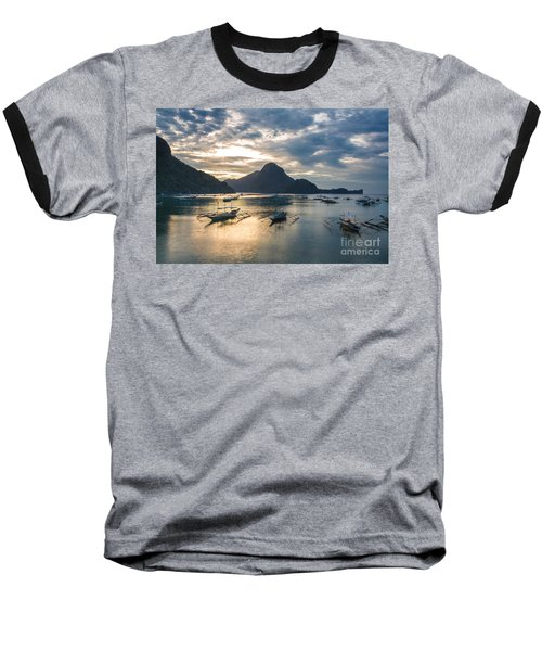 Sunset Over El Nido Bay In Palawan, Philippines Baseball T-Shirt