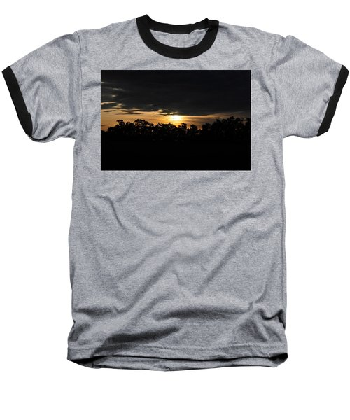 Sunset Over Farm And Trees - Silhouette View  Baseball T-Shirt by Matt Harang