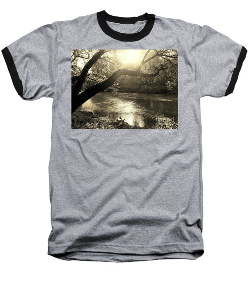 Sunset Over Flat Rock River - Southern Indiana - Sepia Baseball T-Shirt