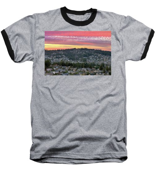Sunset Over Happy Valley Residential Neighborhood Baseball T-Shirt