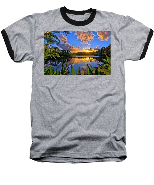 Sunset Over Hidden Lake In Jupiter Florida Baseball T-Shirt by Justin Kelefas