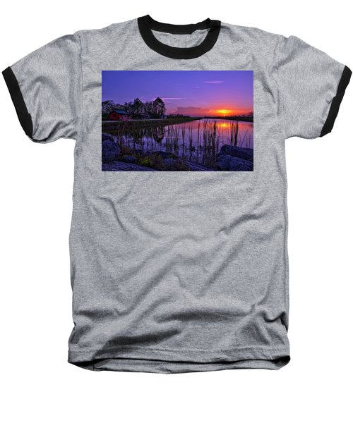 Sunset Over Hungryland Wildlife Management Area Baseball T-Shirt by Justin Kelefas