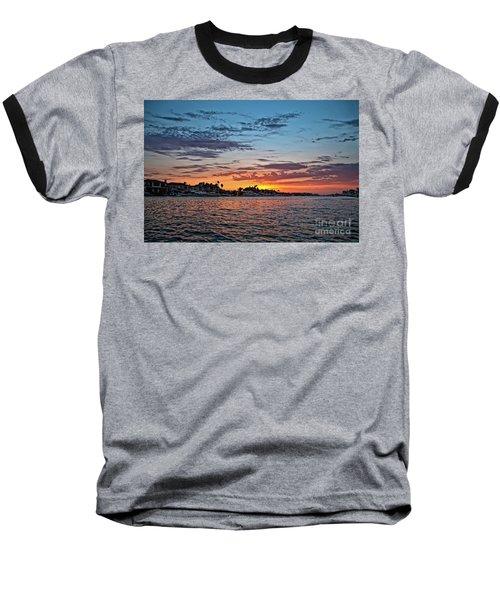 Sunset Over Huntington Harbour Baseball T-Shirt by Peter Dang