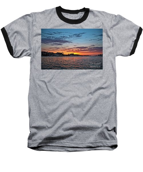 Sunset Over Huntington Harbour Baseball T-Shirt