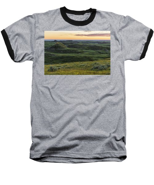 Sunset Over Killdeer Badlands Baseball T-Shirt