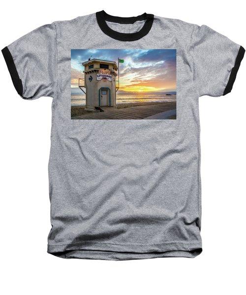 Sunset Over Laguna Beach Lifeguard Station Baseball T-Shirt