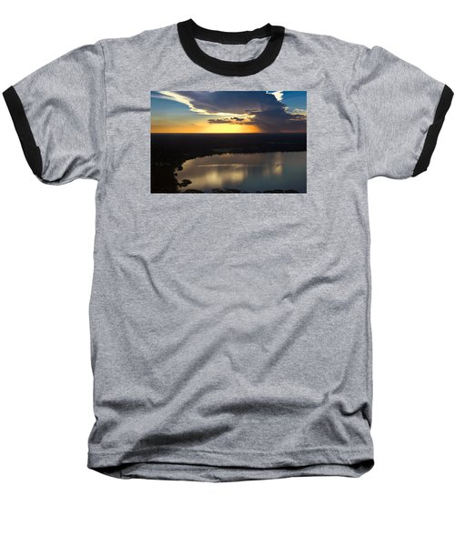 Sunset Over Lake Baseball T-Shirt by Carolyn Marshall
