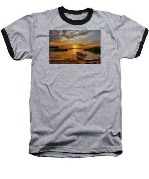 Sunset Over Lake Baseball T-Shirt