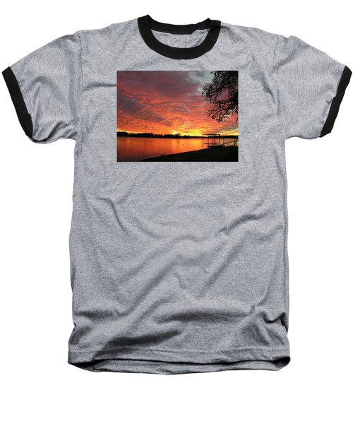 Sunset Over Lake Murray Baseball T-Shirt