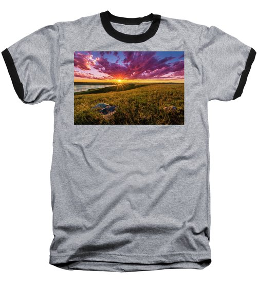 Sunset Over Lake Oahe Baseball T-Shirt