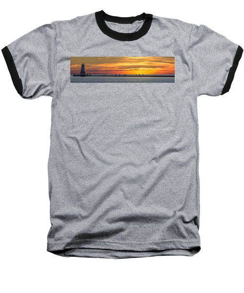 Baseball T-Shirt featuring the photograph Sunset Over Ludington Panoramic by Adam Romanowicz