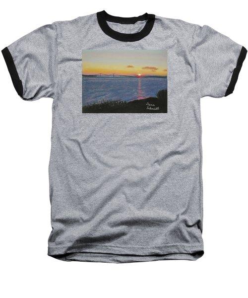 Sunset Over Mackinac Bridge In Mi Baseball T-Shirt