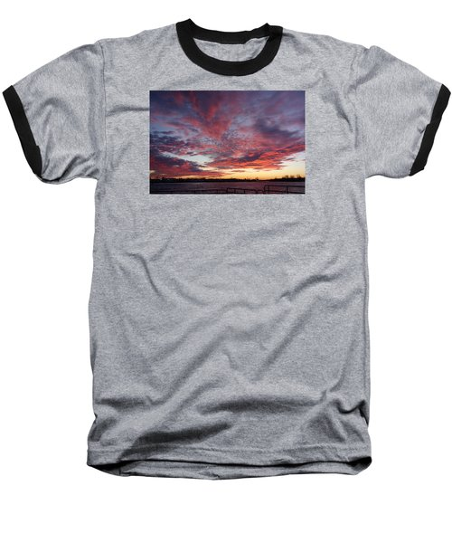 Manasquan Inlet Sunset    Baseball T-Shirt by Melinda Saminski