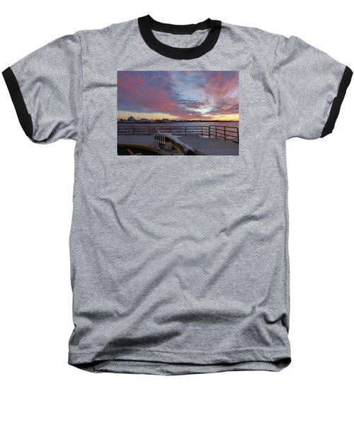 Sunset Over Manasquan Inlet 3 Baseball T-Shirt by Melinda Saminski